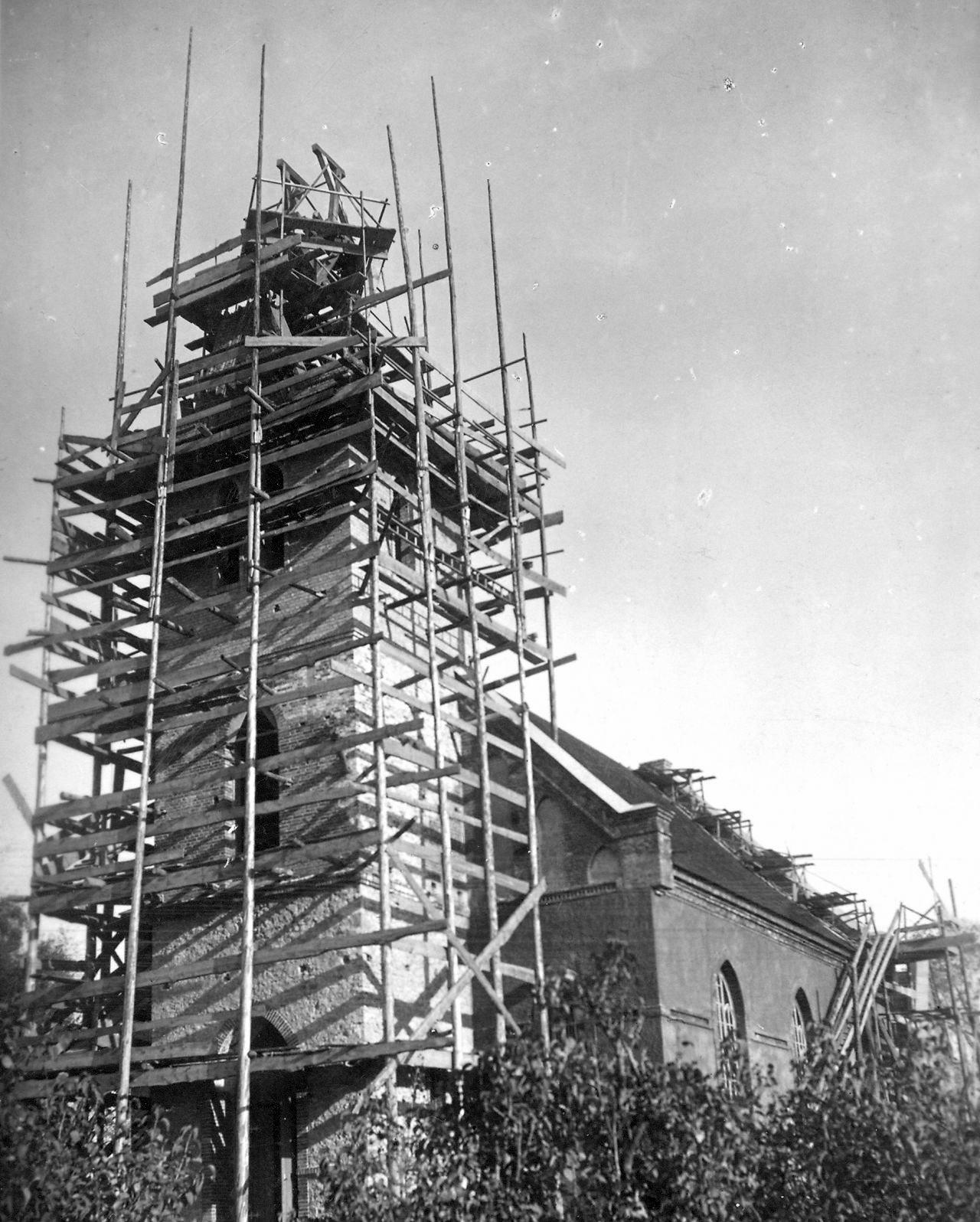 Baznīcas torņa daļas atjaunošana 20gs. divdesmito gadu beigas